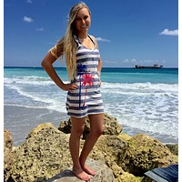 Shore Side Beachgoer Blue and White Racer Back Palm Tree Dress