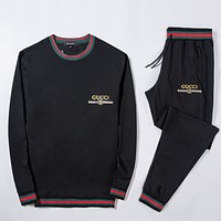 Gucci Fashion Casual Loose Hooded Top Sweater Pullover Pants Trousers Set Two-Piece