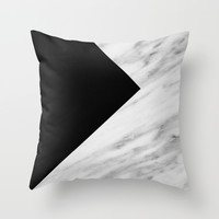 Black Marble Collage Throw Pillow by Cafelab