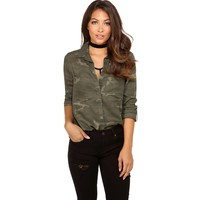 Olive Camo Button Up With Ease