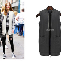 Plus Size With Pocket Zippers Sleeveless Jacket [9344409604]
