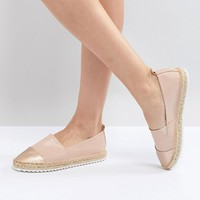 Head Over Heels by Dune Slip on Shoe with Espadrille Sole and Metallic Toe Cap at asos.com