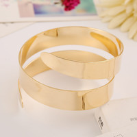 Simple Gold and Silver Punk Cuff Bangle Upper Arm Bracelet For Women