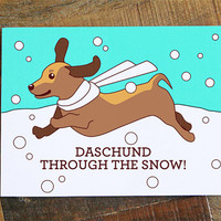 "Daschund Christmas Card ""Daschund through the Snow"" Pun card - cute dog card, happy holidays card, funny christmas, dog art, doxie gift"