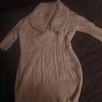Classy, Long, White, Angora Sweater by Twiggy, Med