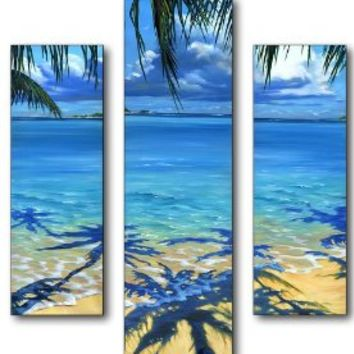 The Stupell Home Decor Collection Palm Tree Shadows 3 Piece Multi Size Wall Art Panel Set
