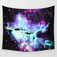 Galaxy Clouds Pink Periwinkle Purple Wall Tapestry by WhimsyRomance&Fun