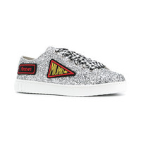Miu Miu Glittered Logo Patch Sneakers - Farfetch