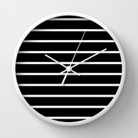 White Stripes on Black Pattern Wall Clock by RexLambo