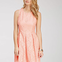 Pleated Floral Lace Dress