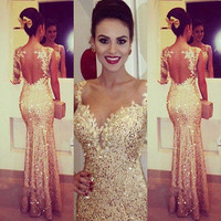 2015 Long Beaded  Formal Prom Bridal Party Dresses Wedding Gown gold