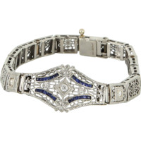 Vintage Art Deco 14 Karat Gold 900 Platinum Diamond Sapphire Filigree Bracelet Estate