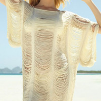 Sheer Crochet Batwing Swimsuit Cover Up