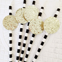 Party straws - Black and Gold party - Confetti Party - Drinking Straws - Paper Straws - Glitter Party Straws - Straws - New Years Party