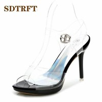 SDTRFT Summer 2018 Transparent crystal Fetish SM shoes woman 10cm Clear thin heels sexy sandals Ankle strap Party Cosplay pumps