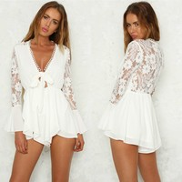 White V-Neck Lace Rompers