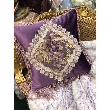 Romantic Victorian Royal Purple Cameo Crocheted Lace Rose Adorned Square Pillow