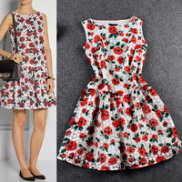 Red Sleeveless Embroidered  Flower Printed  Swing Dress