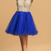 Strapless Beaded Homecoming Short Dress Royal Blue
