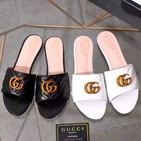 GUCCI tide brand female models G buckle wear stylish flat bottom slippers