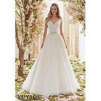 Voyage by Mori Lee 6836 Lace Cap Sleeve A-Line Wedding Dress