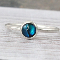 Blue paua abalone stacking ring,  sterling silver stackable ring, handmade thin royal blue ring, 6 mm cabochon, organic jewelry