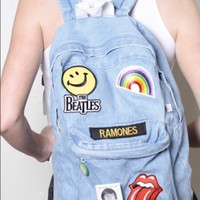 Denim Backpack with Patches