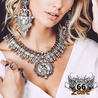 Make A Statemen Crystal Necklace & Earring Jewelry Set