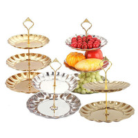 Fruit Plates Stand Pastry Tray Candy Dishes Cake Desserts 2 3 Layer Stainless Steel Party Home Decoration