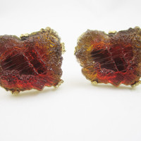 Lava Glass Cufflinks Geode Cuff Links Signed Swank Amber Brown Yellow Orange Glow Mens Jewelry Gifts for Men