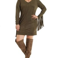 Plus Size Olive Faux Suede Fringe Shift Dress by Charlotte Russe