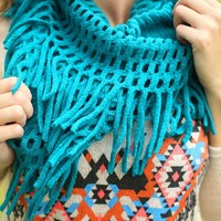 Fancy the Fringe Infinity Scarf in Teal