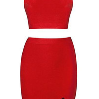 'Grady' Halter Two Piece - Red