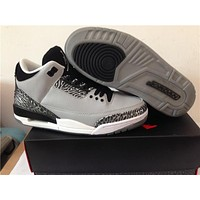 "Air Jordan 3 ""Wolf Grey "" Basketball Shoes 40-47"