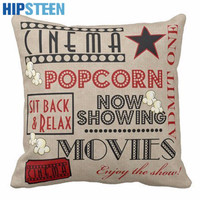 HIPSTEEN Movie Theater English Letters Printing Cotton Linen Square Shaped Decorative Pillow Cover Pillowcase Pillowslip
