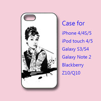 Audrey Hepburn, tattooing, iPhone 4 case, iPhone 5 case, ipod case, samsung s3 case, samsung s4 case, galaxy note 2, blackberry Q10, z10