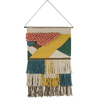 "Romance Wall Hanging | Woven Textiles and Layered Fringe Details | Copper Hardware | 12"" x 17"""