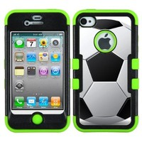 One Tough Shield ® Hybrid 3-Layer Phone Case (Black/Green) for Apple iPhone 4 4S - (Soccer)