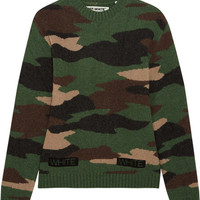 Off-White - Oversized camouflage-intarsia wool sweater