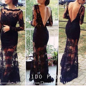 Custom Made Black Lace Prom Dress ,Backless Prom Dresses,Mermaid Prom Dress,Sexy Prom Dress,Dress For Prom,Prom Dresses 2014