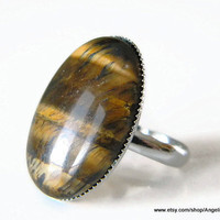 Tiger Eye Natural Stone Ring 25x18mm Silver Plated Adjustable Large Ring