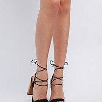 CHUNKY HEEL LACE-UP SANDALS