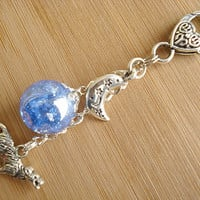 Howling Wolf Moon Blue Crackle Glass Marble Keychain