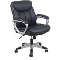 Essentials by OFM Leather Executive Office Chair with Arms, Black/Silver - Walmart.com