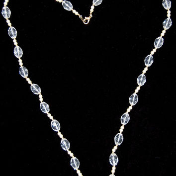 Vintage 60's Crystal & Pearl Necklace