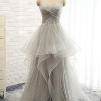 A-line tulle prom gown,2016 evening dress with beadings