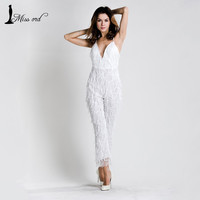 Free Shipping Missord 2016 sexy V-sleeved halter sequin JUMPSUITS FT5157
