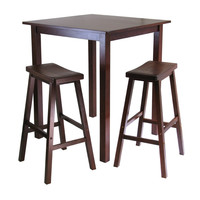 3-Piece Square High Pub Table & 2 Chairs in Walnut Finish