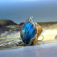 Labradorite pendant oval shape silver wire wrapped with a silver plated necklace