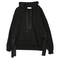 Self-Tie Side Detail Hoodie (Black)